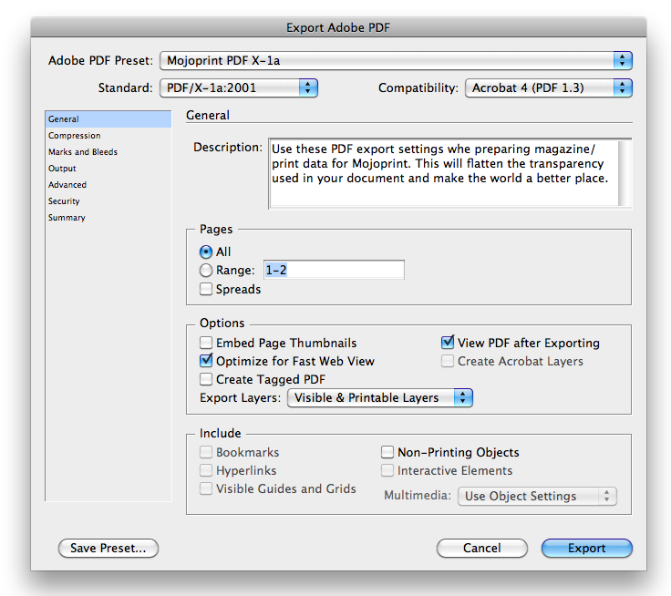 General settings dialog box