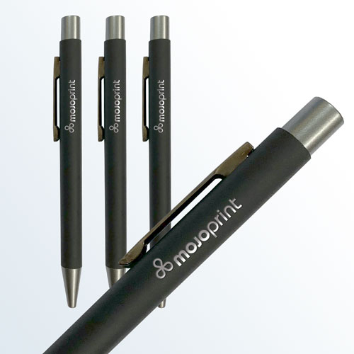 Black laser-etched pens